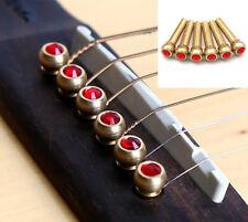 For Acoustic Guitar String Pegs 6Pcs Abalone Ebony Guitar Bridge Bone Pins Set