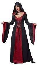 Deluxe Red Hooded Gothic Robe Adult Women Costume Lace up Dress Bell Sleeve XL