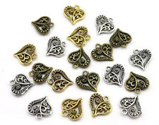 50pcs Antique tibet silver charm exquisite two-sided hollow out heart pendant