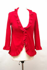 L197/20 CC Country Casuals Angora/Wool Blend Red Frill Cardigan, size S UK 10