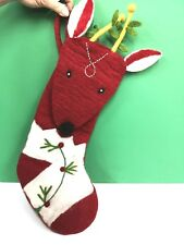 "22"" x 8"" REINDEER STOCKING WOOL by Midwest CBK 143586 RED & WHITE CHRISTMAS NEW"