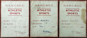 N. A. M. C. & G. C. Athletic Sports Event Award Certificates x 3 Early 1900's