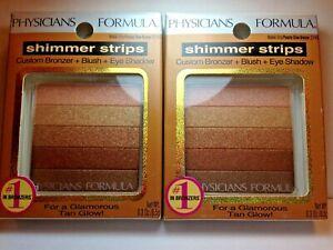 Lot (2) Physicians Formula Shimmer Strips Waikiki Strip Peachy Glow Bronzer 2745