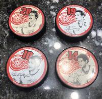 4- NHL Detroit Red Wings #10 14 19 20 Hockey Puck Heroes of Hockeytown Yzerman