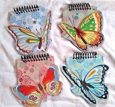 Set of 4 Butterfly Shaped Note Pads Books with Spiral Top Writing Drawing Empty