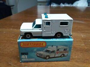 Matchbox Superfast #41 Ambulance Rare Error No Labels In Box