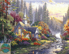 Cross Stitch Kit ~ Thomas Kinkade The Forest Chapel In Spring Woods #51416