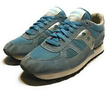 Vintage Saucony Shadow XT600 Running Shoes Blue Suede Silver Womens Size 10