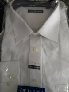 Mens Van Heusen 17.5 Long Sleeve Shirt White Bnwt