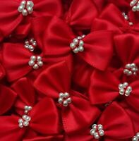 Pack of 10 RED 3.5cm Satin Ready Made Mini Ribbon and Pearl Craft Bows Bow Ties