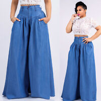 Women club casual wide legs loose long denim jeans pants trousers