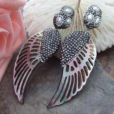 """AB092515 3.3"""" 26x61MM Black ShellPearl Earrings"""