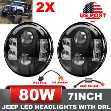 2x 7Inch Upgrade 80W Headlight Jeep Wrangler JK TJ CREE LED DRL H4 H13 US Stock