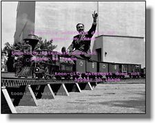 Walt Disney 1940's riding the Lilly Belle backyard Steam Train NEW 8x10 photo