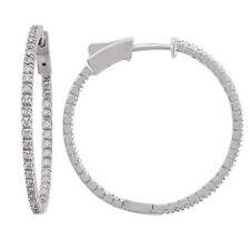 14k White Gold Diamond Huggies, 0.80tdw (NEW hoop earrings design, 29mm) 4459
