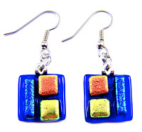 DICHROIC Glass EARRINGS Cobalt Blue Orange Yellow Squares Dangle Surgical 15mm