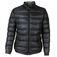 Mens Lightweight Puffer/Padded Jacket Funnel Neck Leatherette Collar. Size S-XXL