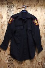 CANADIAN MILITARY POLICE SHIRT BLACK MEN'S 15.5/33 WITH ORIGINAL INSIGNIAS