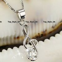 XMAS GIFTS FOR HER - Treble Clef Music Note Crystal Necklaces for Women Gifts K9