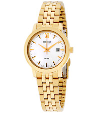 NWT Women's Seiko SUR814 Gold Tone Stainless Steel Silver Quartz Dial Watch
