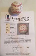 1992 Cincinnati Reds Team Signed Baseball 29 AUTO'S Barry Larkin BAS Beckett LOA