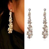 Beauty Crystal Women Lady's Pearl Rhinestone Dangle Chandelier Earrings Jewelry