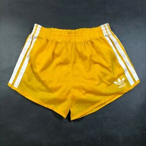 Vintage Adidas Trefoil Boys Youth M 24-26 Yellow Running Shorts White Nylon