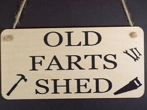 """Old Farts Shed"" Wooden Plaque Garden Love Friendship Funny Dad Grandad Man Sign"