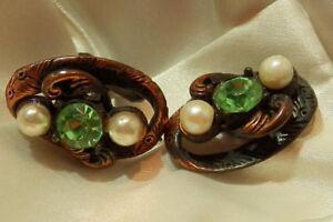 COOL X FAB Sparkling Rhinestone Faux Pearl Copper Cuff Links Vintage 60's 141my8