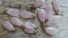 "Flat Rose Quartz Stone DROPS BBBB (pkg 12) hamilton gold flower top 1/2""-1"" long"