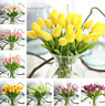 12 Bouquet Artificial Flower Bouquet Tulip Real Touch Bridal Wedding Home Decor