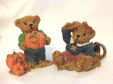 HOME INTERIORS HOMCO PAIR OF THANK YOU BEARS FOR THANKSGIVING PUMPKIN BASKET vtm