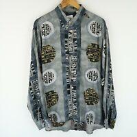 Vintage 90S abstract crazy print festival shirt long sleeve SZ XL (E4858)