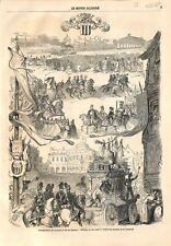 Inauguration du chemin de fer la gare de Rennes/Cortège duc Jean V GRAVURE 1857