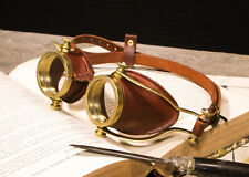 Steampunk Goggles Solid Brass Real Leather Handmade Steam Punk Glasses Cosplay