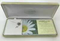 """He Loves Me Daisy Necklace Silver Plated 18"""" Chain Dicksons Cross Original Box"""