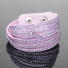 SLAKE BRACELET FAUX LEATHER SUEDE CRYSTALS LILAC