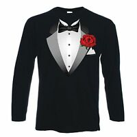 TUXEDO LONG SLEEVE T-SHIRT - Fancy Dress Stag Party Tux - FREE POSTAGE - S-XXL
