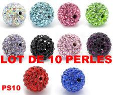 10 perles verre strass cristal ronde CREATION BRACELET SHAMBALLA DIY