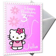 HELLO KITTY-Personalizzato Compleanno Carta di grandi dimensioni A5 + BUSTA