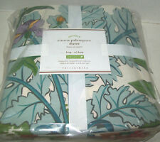 Pottery Barn Zinnia Floral Flower Palampore Cotton King Duvet Cover New