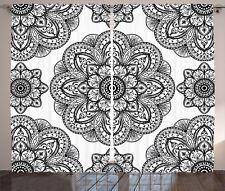 Black Curtains Ornate Mandala Patterns Window Drapes 2 Panel Set 108x84 Inches