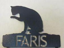 CUSTOM CAT WASHING MAILBOX TOPPER (YOUR  NAME) STEEL BLACK POWDER COAT FINISH