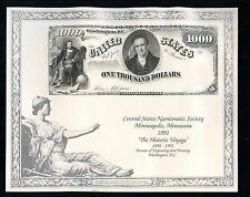 AMERICAN BANK NOTE COMPANY CENTRAL STATES NS 1992  $1000 1878 NOTE  SHOW  CARD