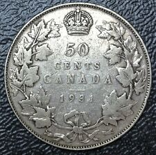 OLD CANADIAN COIN  1931 - 50 CENTS - SILVER - George V - SEMI KEY DATE