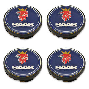 Wheel Centre Hub Caps Cover 4PCS Compatible with SAAB 9-3 9-5 93 95 900 9000 Etc 3D Aluminum Alloy Car Tire Dust-Proof Cover Wheel Center Hub Cap Stickers Badge Decals Emblem Badge