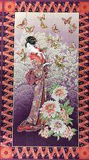 PNL36 Geisha Wood Block Print Japanese Elegant Kimono Cotton Quilting Fabric