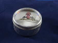 Ladies Pink Oval Fashion Jewelry Ring with Silver Band - Size 9 (II)
