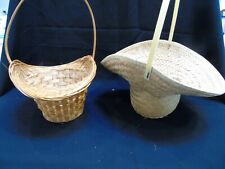 Two Woven Baskets Round Adorable.  Planter or Wedding Flower Girl Weaved baskets
