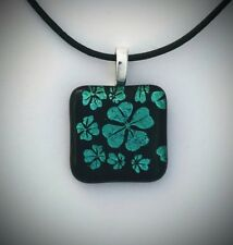 Shamrock Dichroic Fused Glass Pendant Handmade w/necklace